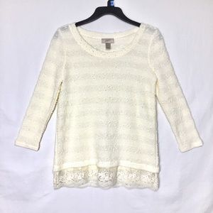 LOFT Lightweight Lace Cream Bubble Sweater